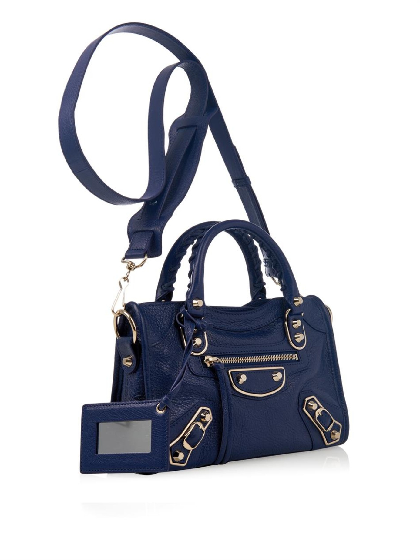 f17d66f4c018 Lyst - Balenciaga Classic Mini City Metallic-Edge Cross-Body Bag in Blue