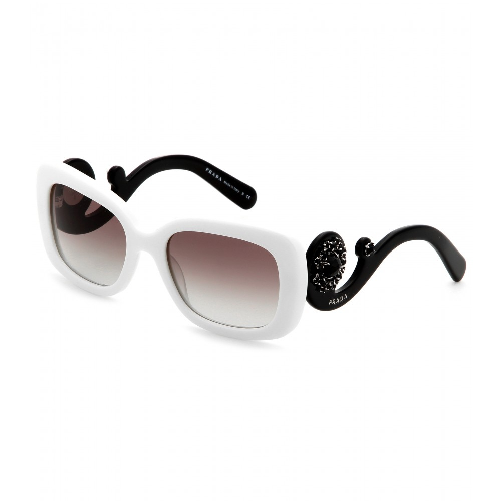 527950da8b0 ... ireland lyst prada minimal baroque square frame sunglasses in white  33a5c 232d8