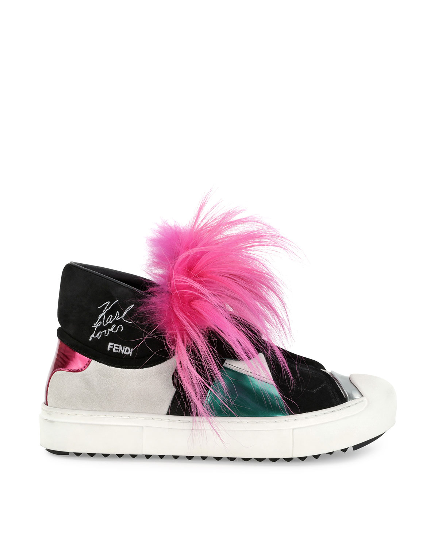 0f297b9ca342 Lyst - Fendi Bugs Leather Fur Monster Sneaker in Pink