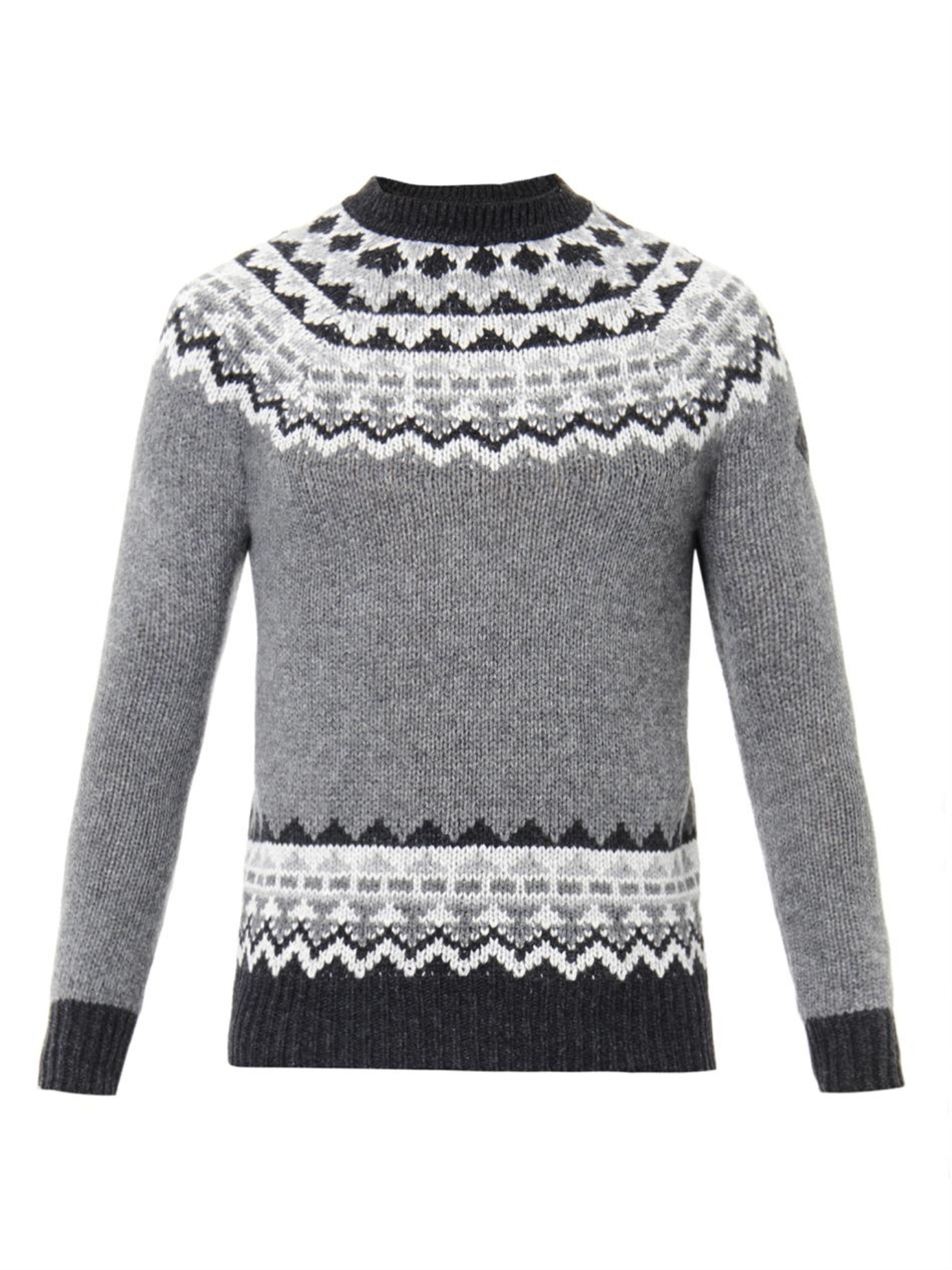 Moncler Fair Isle Intarsia-knit Sweater in Gray for Men | Lyst