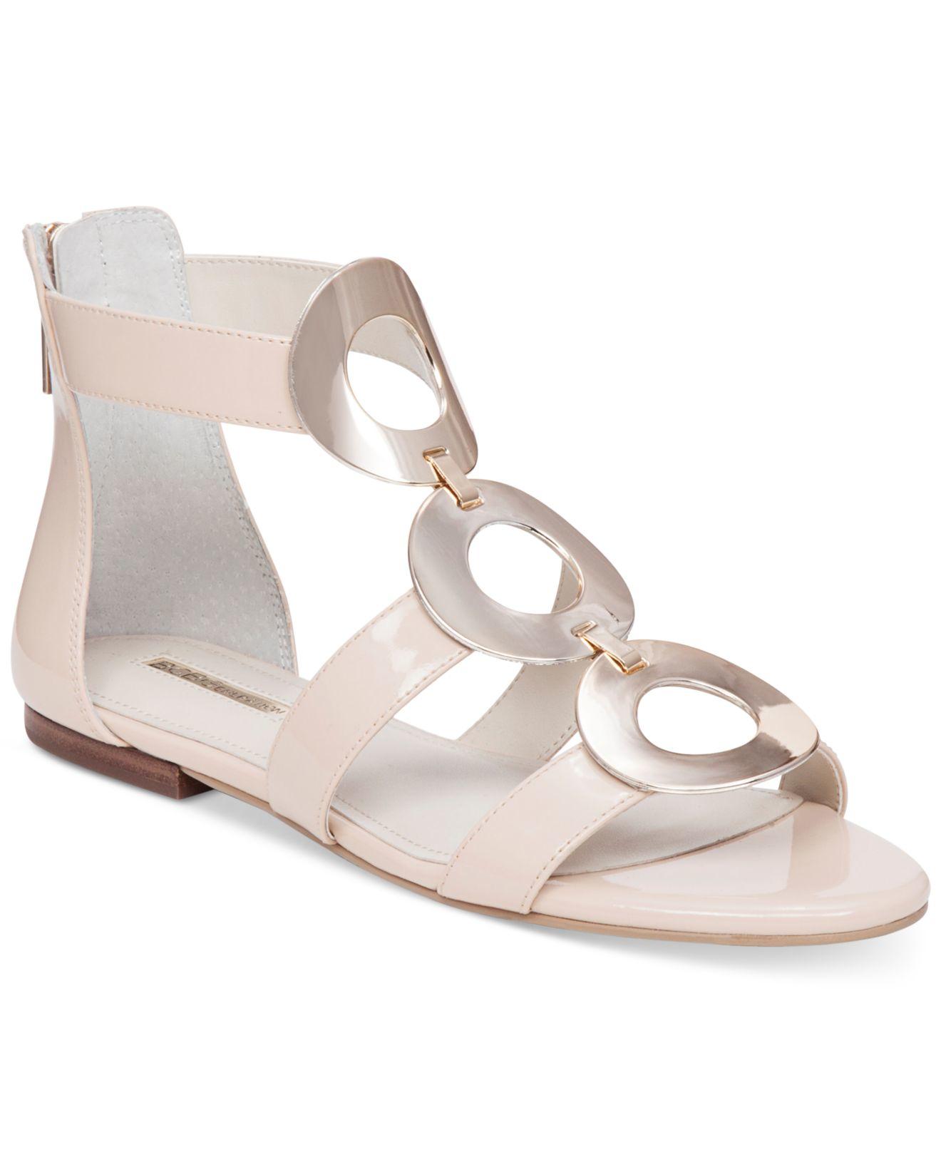 Bcbgeneration Faroh Embellished Flat Sandals In Natural Lyst