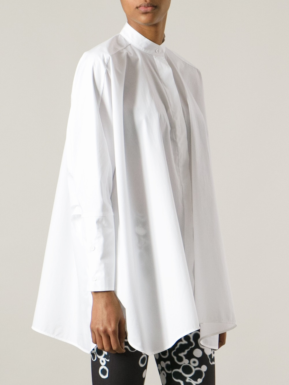 mm6 by maison martin margiela oversize mandarin collar shirt in white lyst. Black Bedroom Furniture Sets. Home Design Ideas