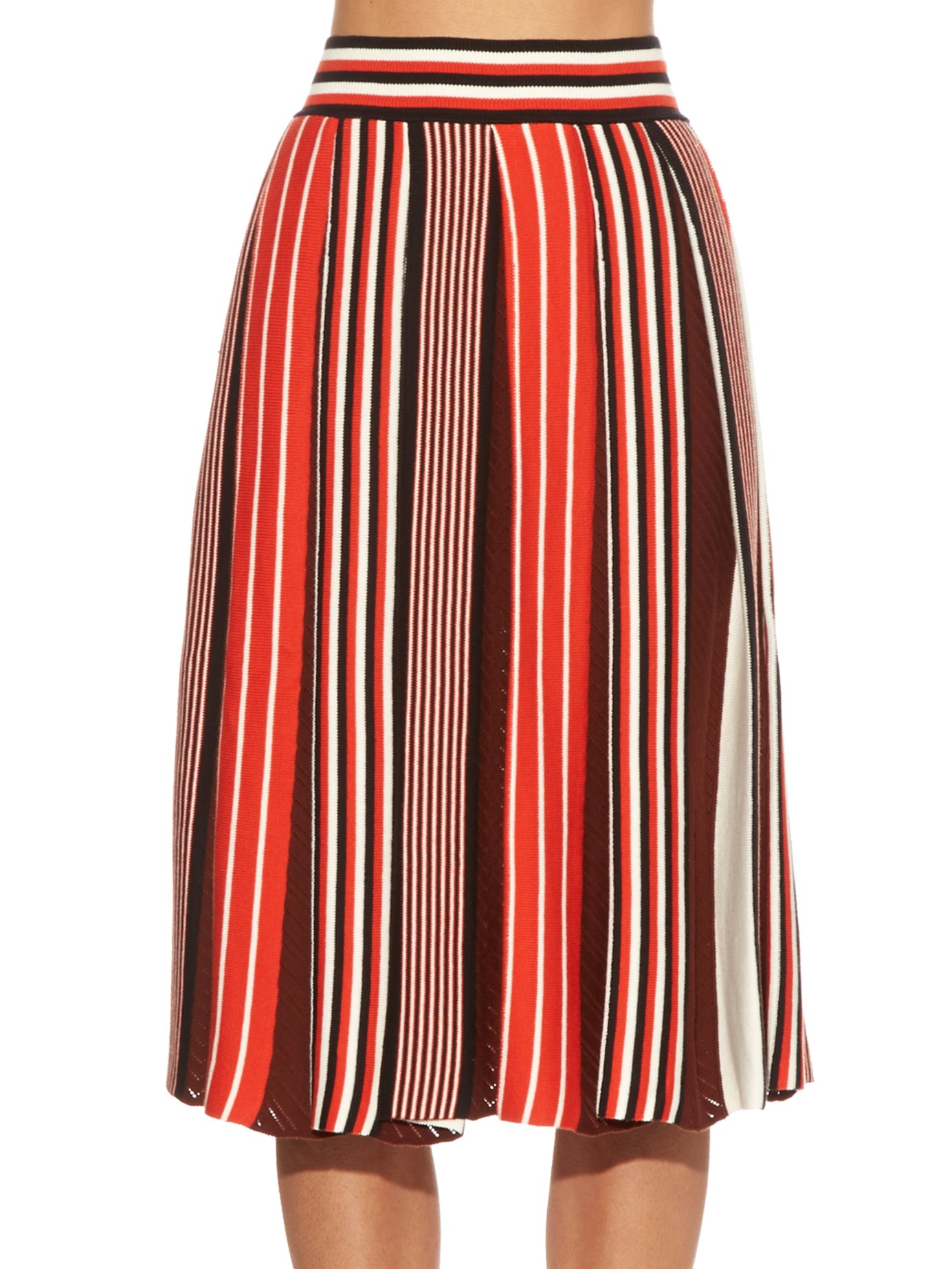 msgm pleated knit skirt in lyst