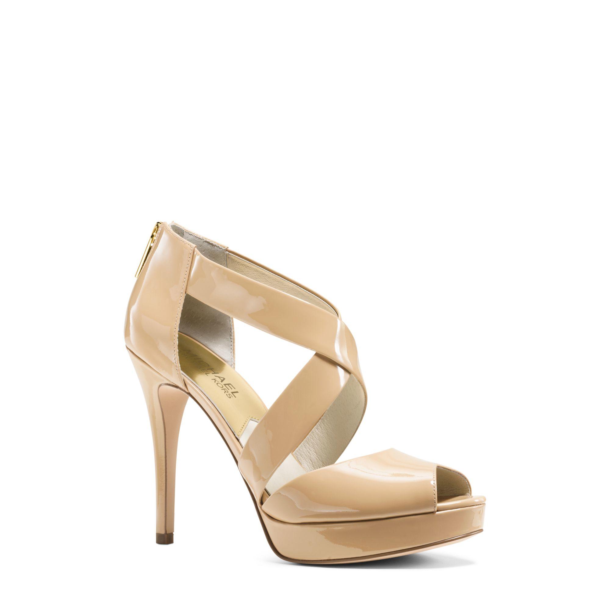 812a27797c8 Lyst - Michael Kors Ariel Patent-leather Platform Sandal in Natural