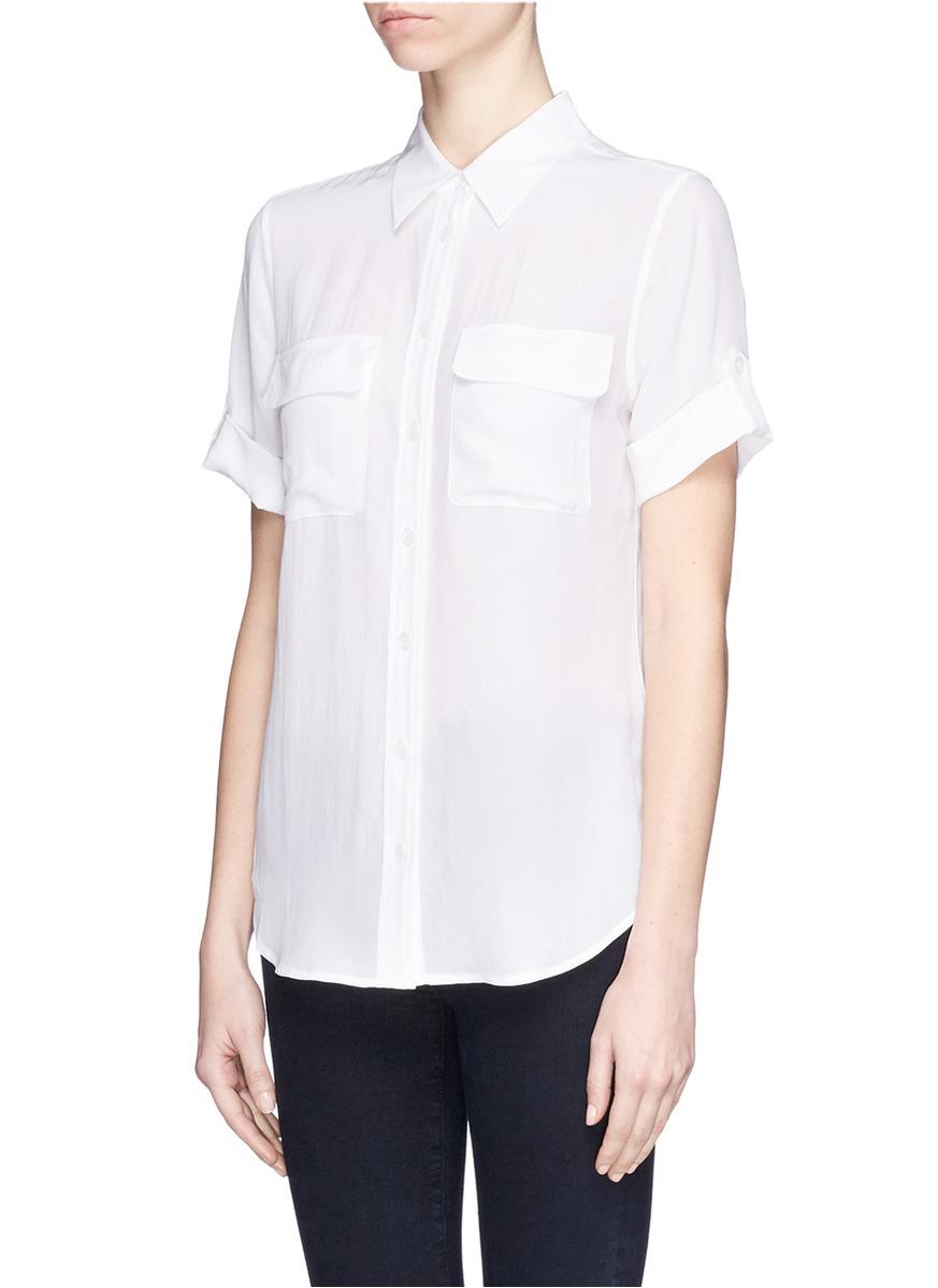Equipment 39 slim signature 39 short sleeve silk shirt in for Equipment signature silk shirt