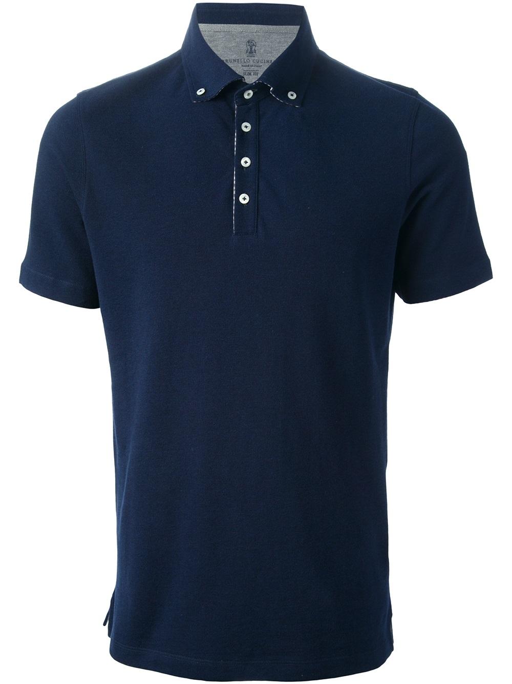 Brunello Cucinelli Button Down Collar Polo Shirt In Blue