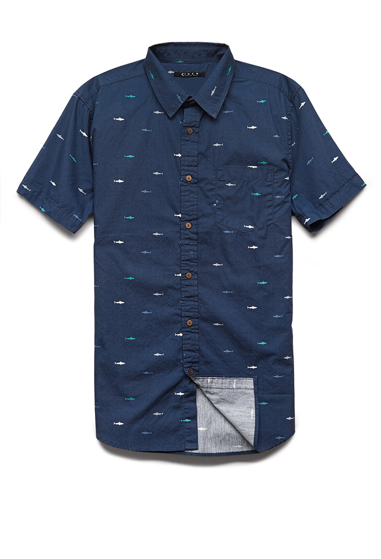 Forever 21 shark print cotton shirt you 39 ve been added to for Patterned dress shirts for men