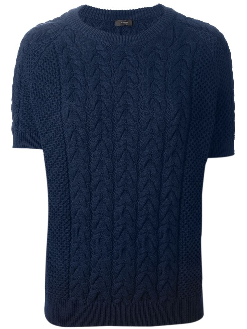 Joseph Short Sleeve Cable Knit Sweater In Blue Lyst