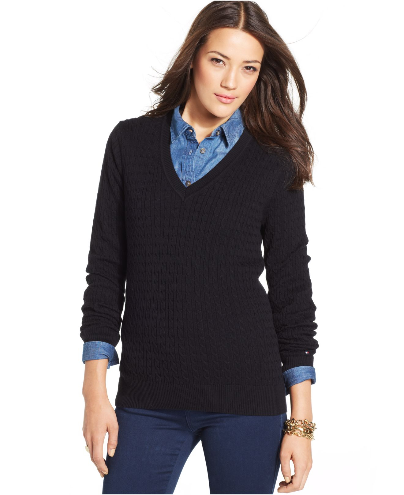 Tommy hilfiger Cable-Knit V-Neck Sweater in Black | Lyst