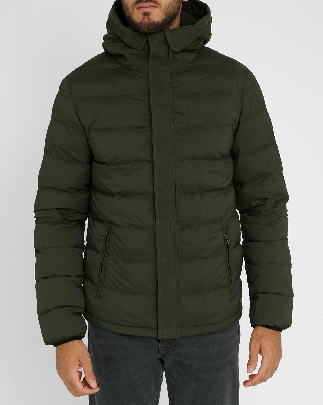 scotch soda khaki fabric details down jacket in green. Black Bedroom Furniture Sets. Home Design Ideas