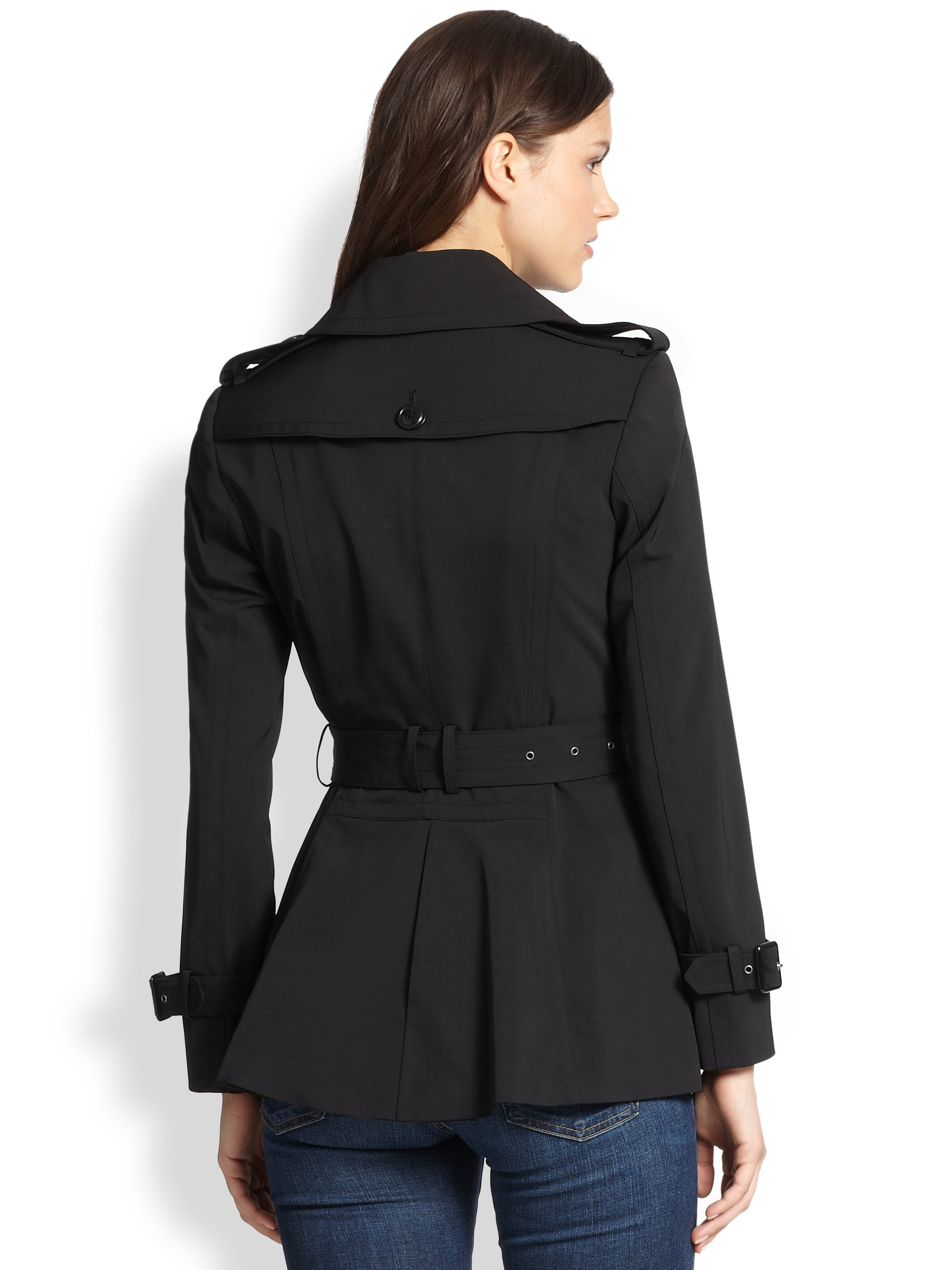 Trina turk Ellie Short Trenchcoat in Black | Lyst