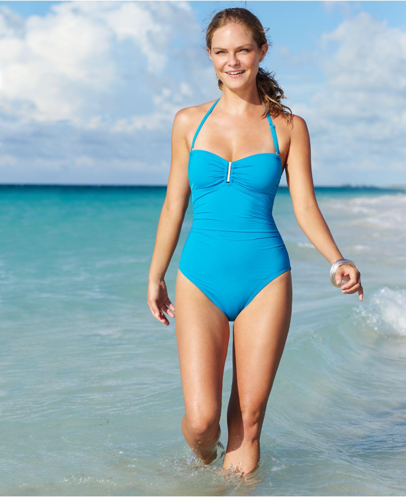092e52906f Calvin Klein Bandeau One-piece Swimsuit in Blue - Lyst