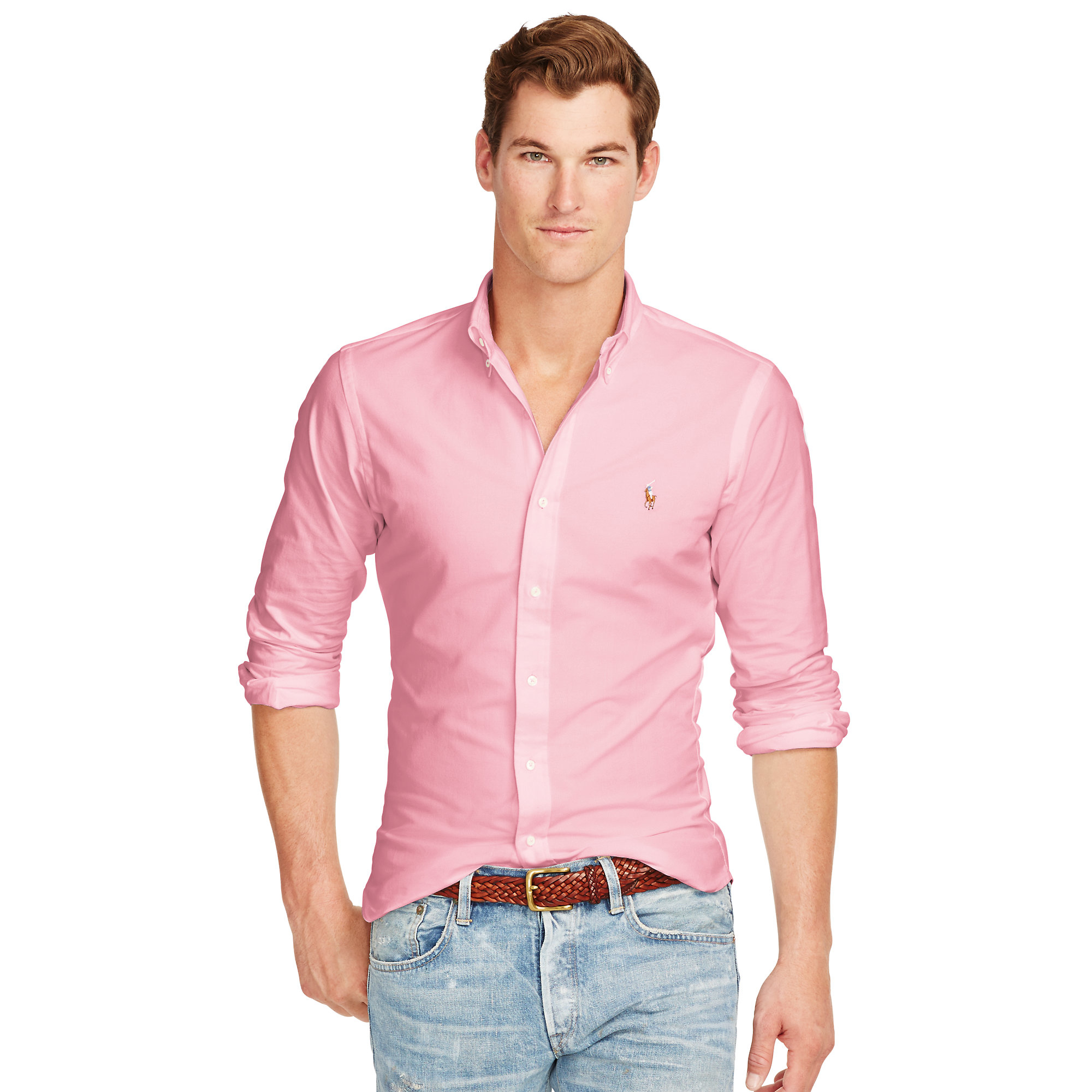 4e09f3e9 Polo Ralph Lauren Slim-fit Stretch Oxford Shirt in Pink for Men - Lyst