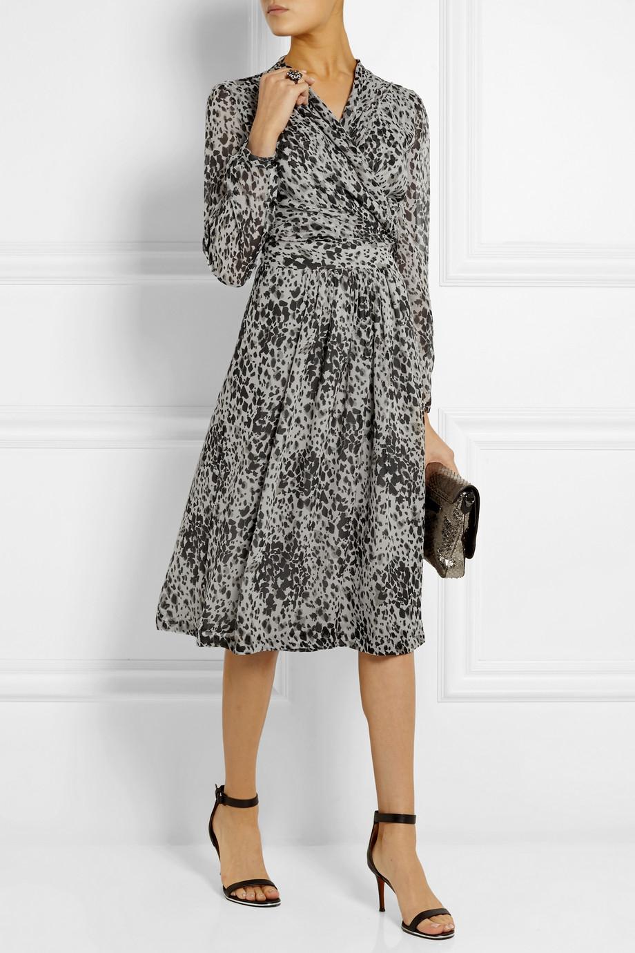 a96fdff939ccd Lyst - Burberry Leopard-print Silk-chiffon Wrap Dress