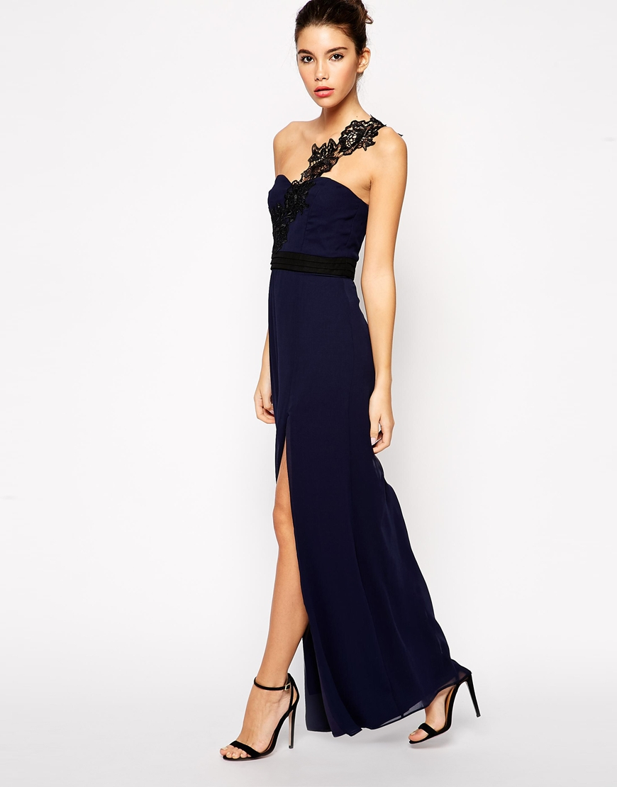 Lyst Asos Exclusive Maxi Dress With Crochet One Shoulder