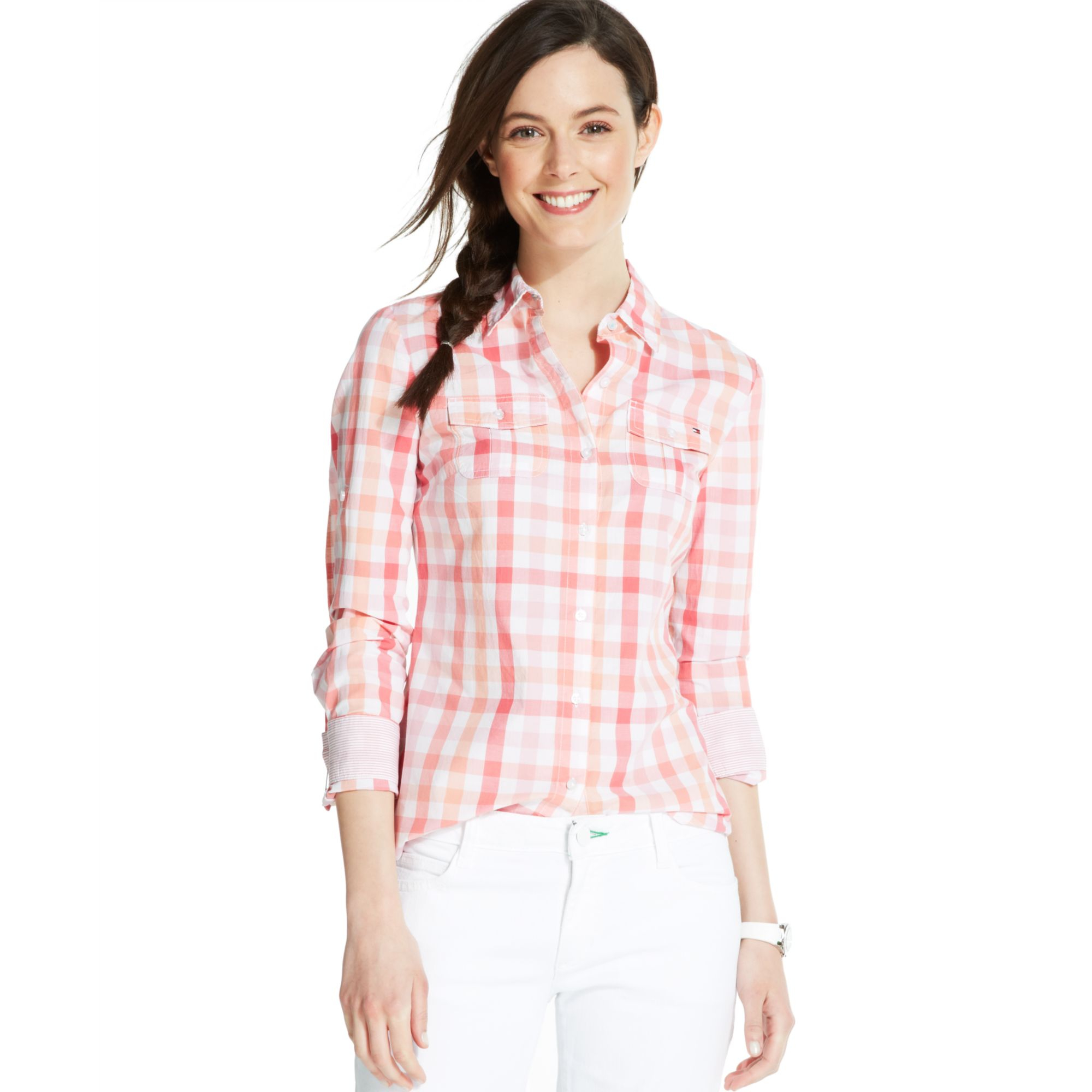 Tommy Hilfiger Longsleeve Plaid Buttondown Shirt In Pink