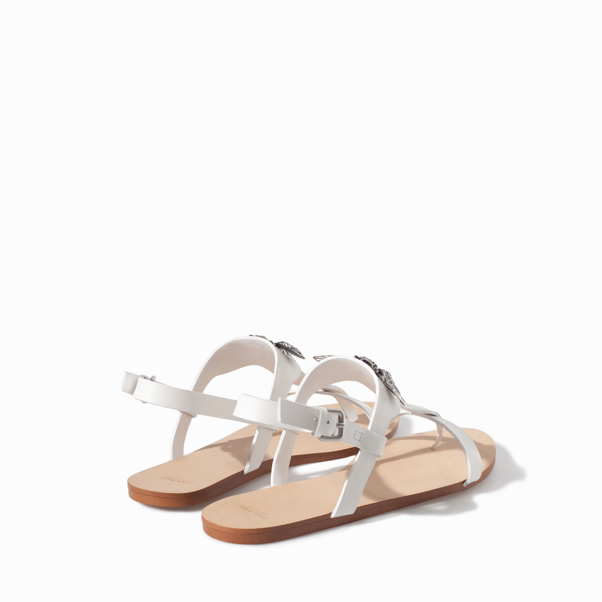 Zara Flat Leather Sandal With Decorative Detail In White