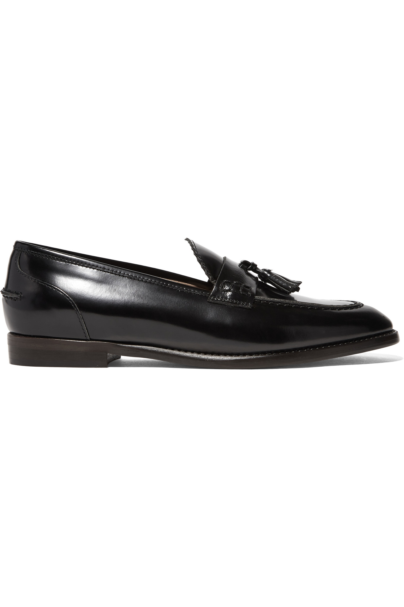 42648c633d7 J.Crew Tassel-embellished Glossed-leather Loafers in Black - Lyst