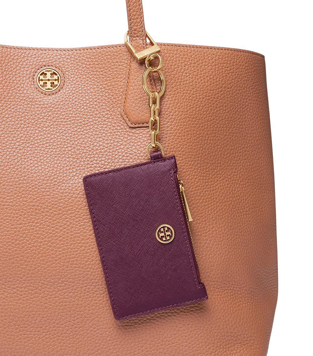 Lyst - Tory burch Robinson Zip Card Key Fob in Purple
