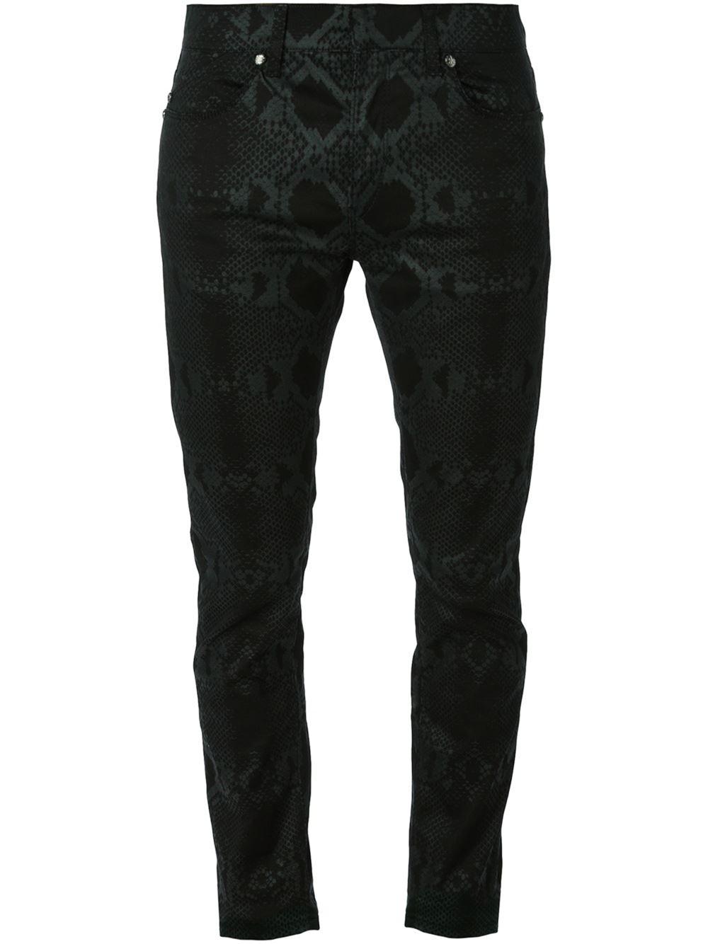 Roberto Cavalli Snakeskin Print Slim Jeans In Black For