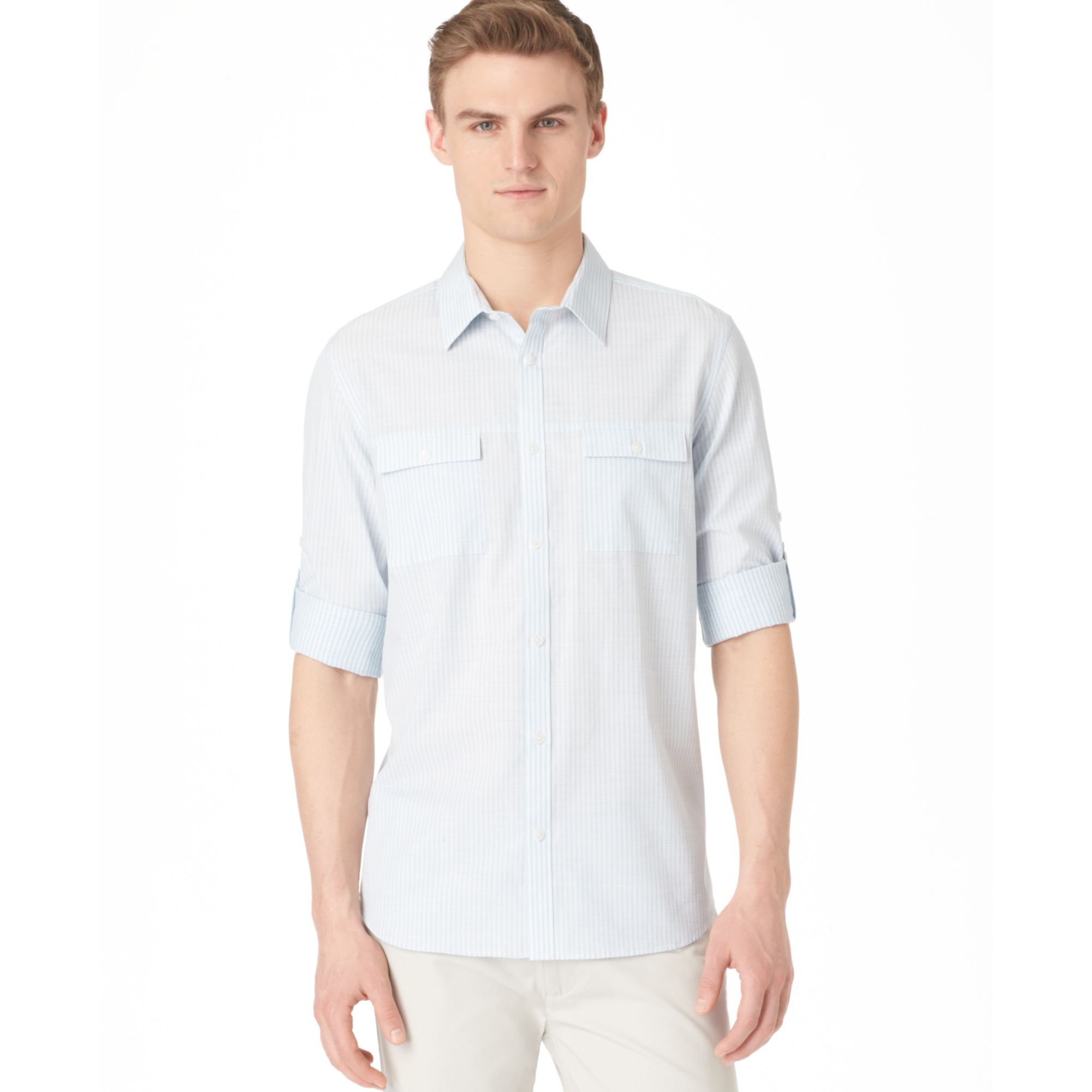 Calvin Klein Striped Rol Tab Sleeve Shirt In Blue For Men