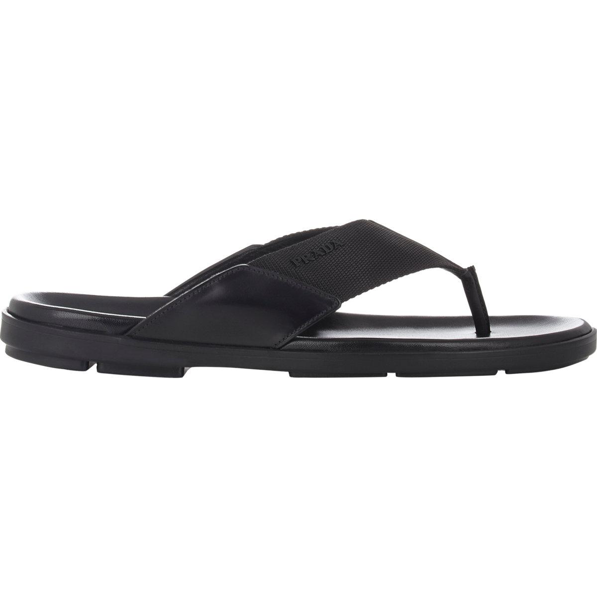 57e374f8b24fde Lyst - Prada Men s Spazzolato   Nylon Thong Sandals in Black for Men