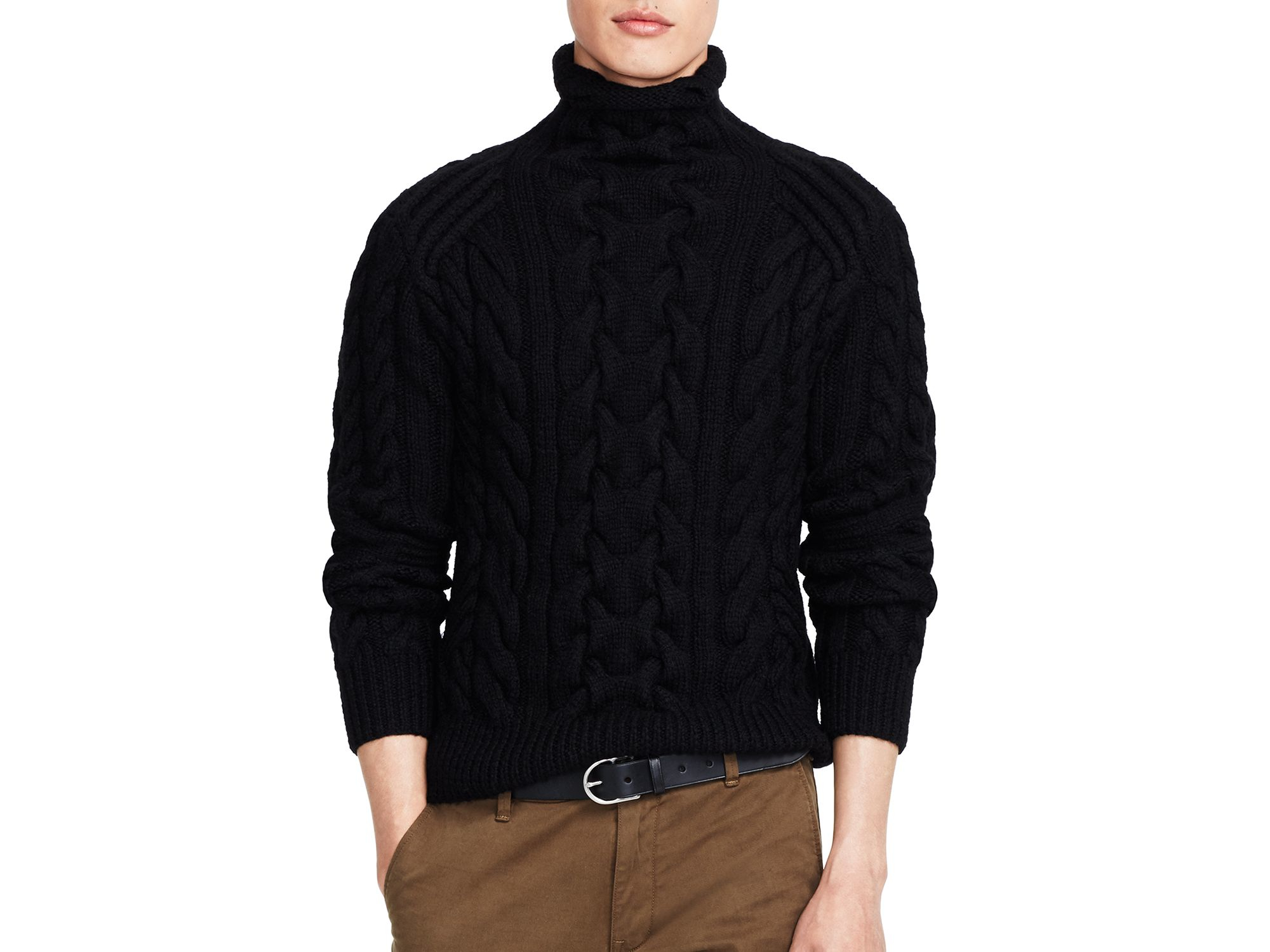 Ralph lauren Polo Cable-knit Turtleneck Sweater in Black for Men ...