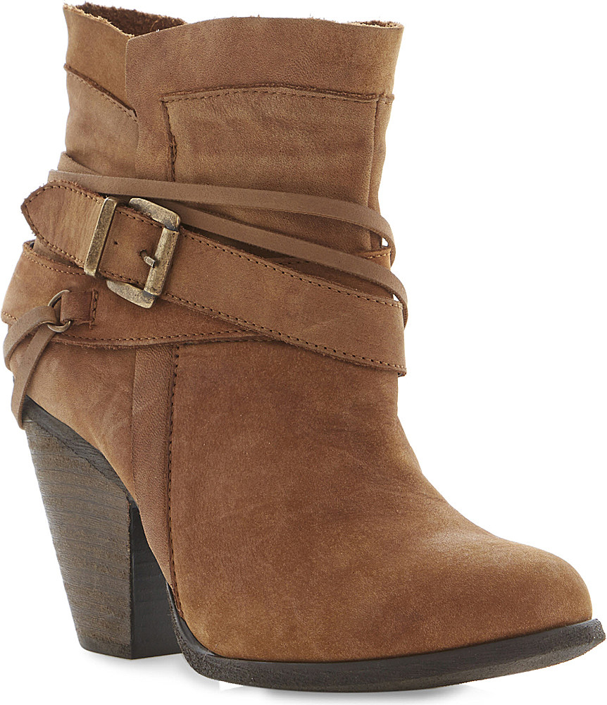 steve madden raffa buckle trim ankle boots in brown