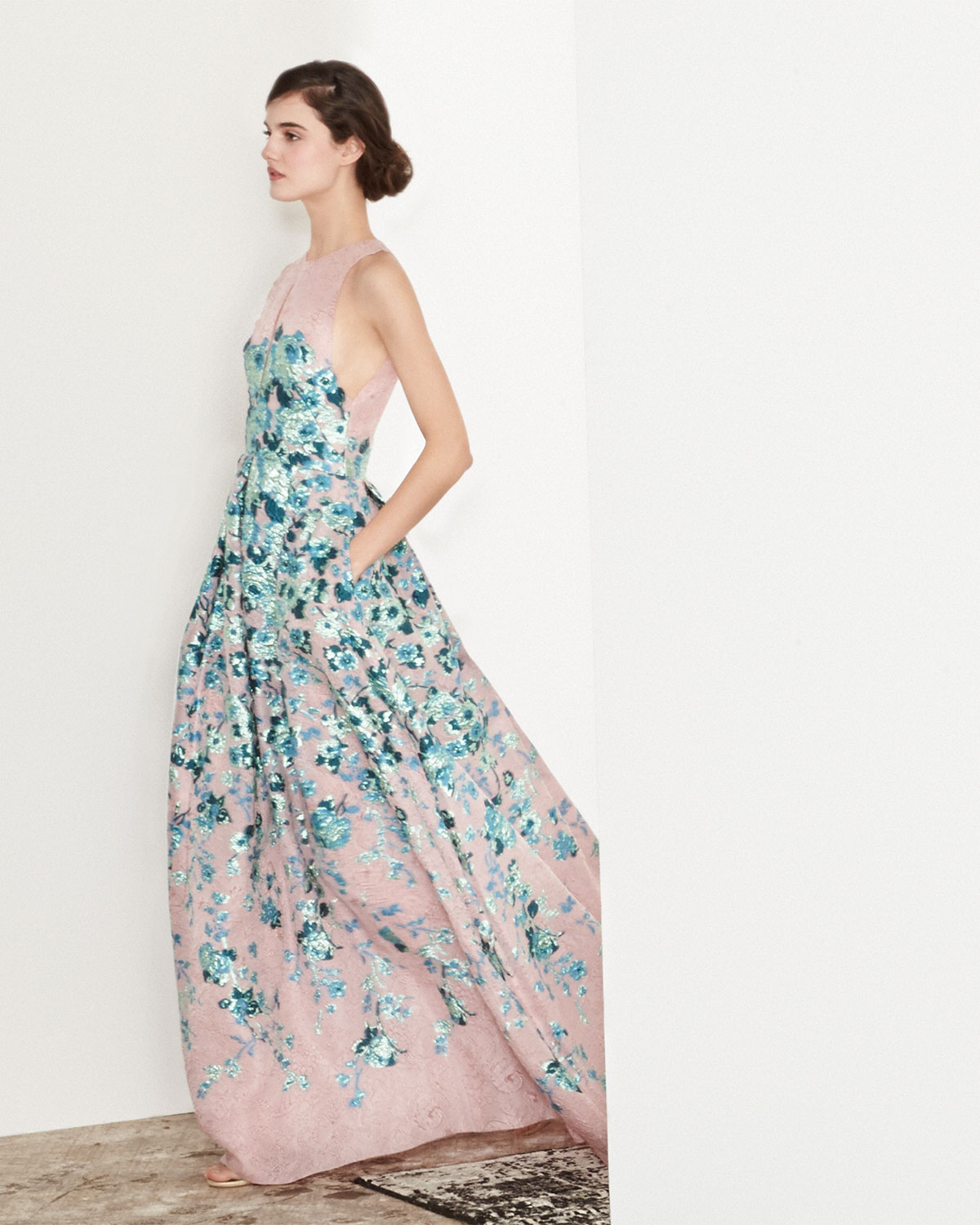 Lyst - Lela Rose Keyhole Cutout-Back Floral Jacquard Gown in Blue