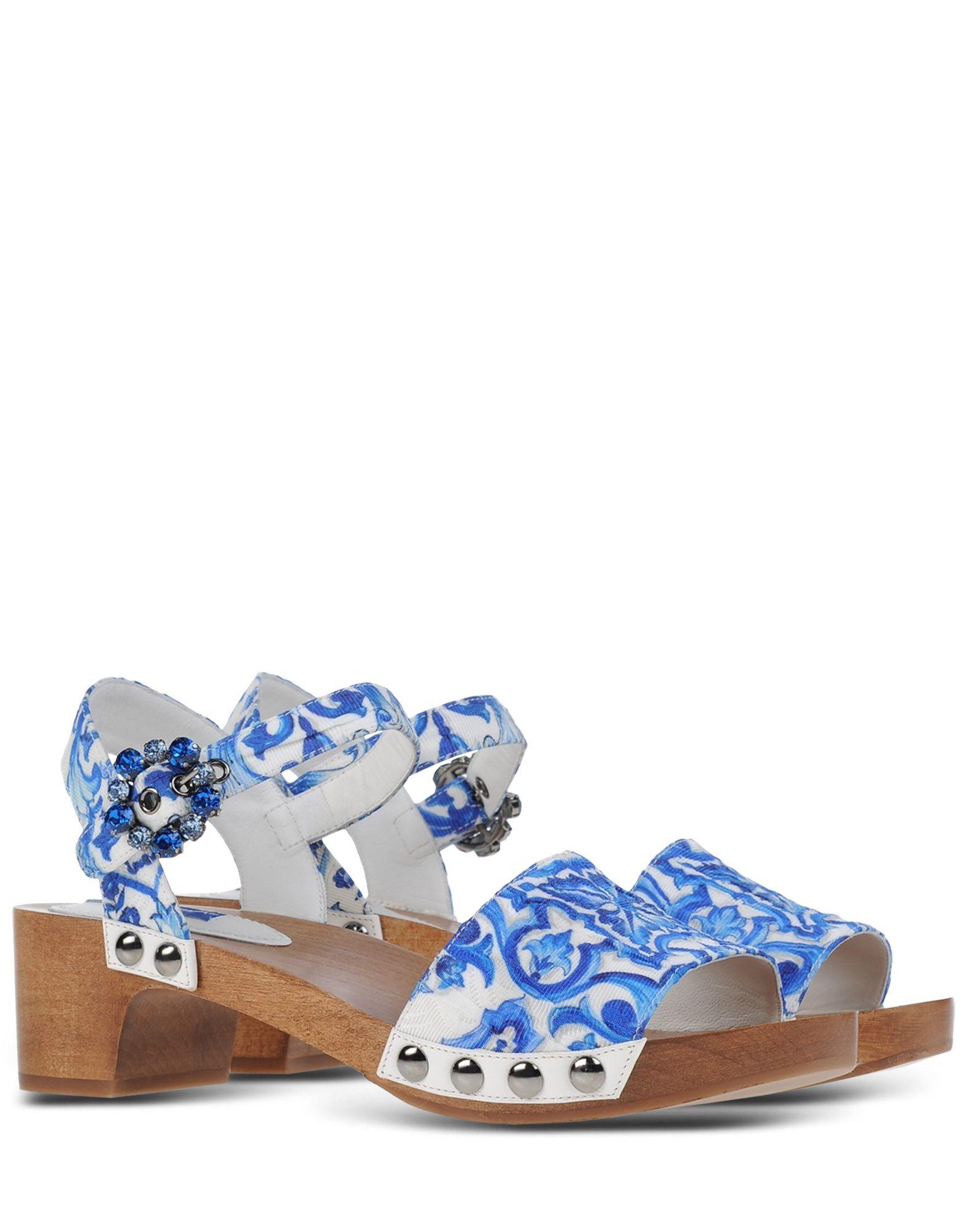 dolce gabbana brocade embellished sandals in white lyst