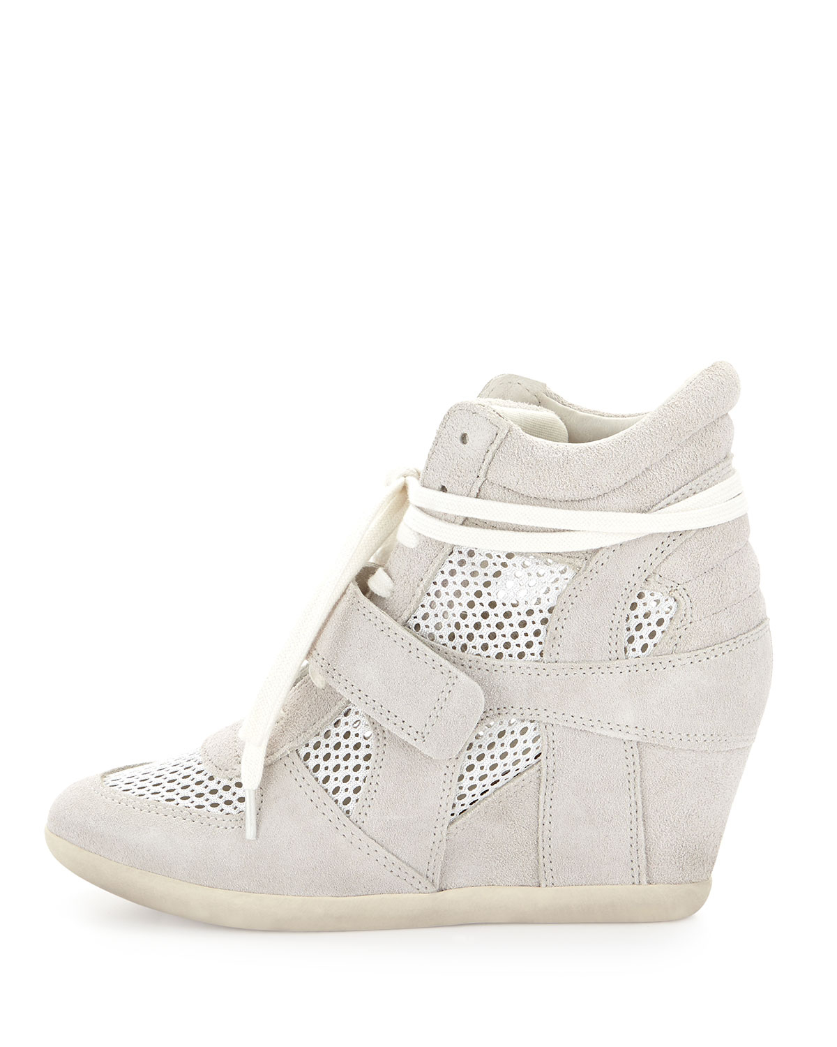 f5811cc7d3209 Lyst - Ash Bowie Mesh Suede Sneaker Wedge in White