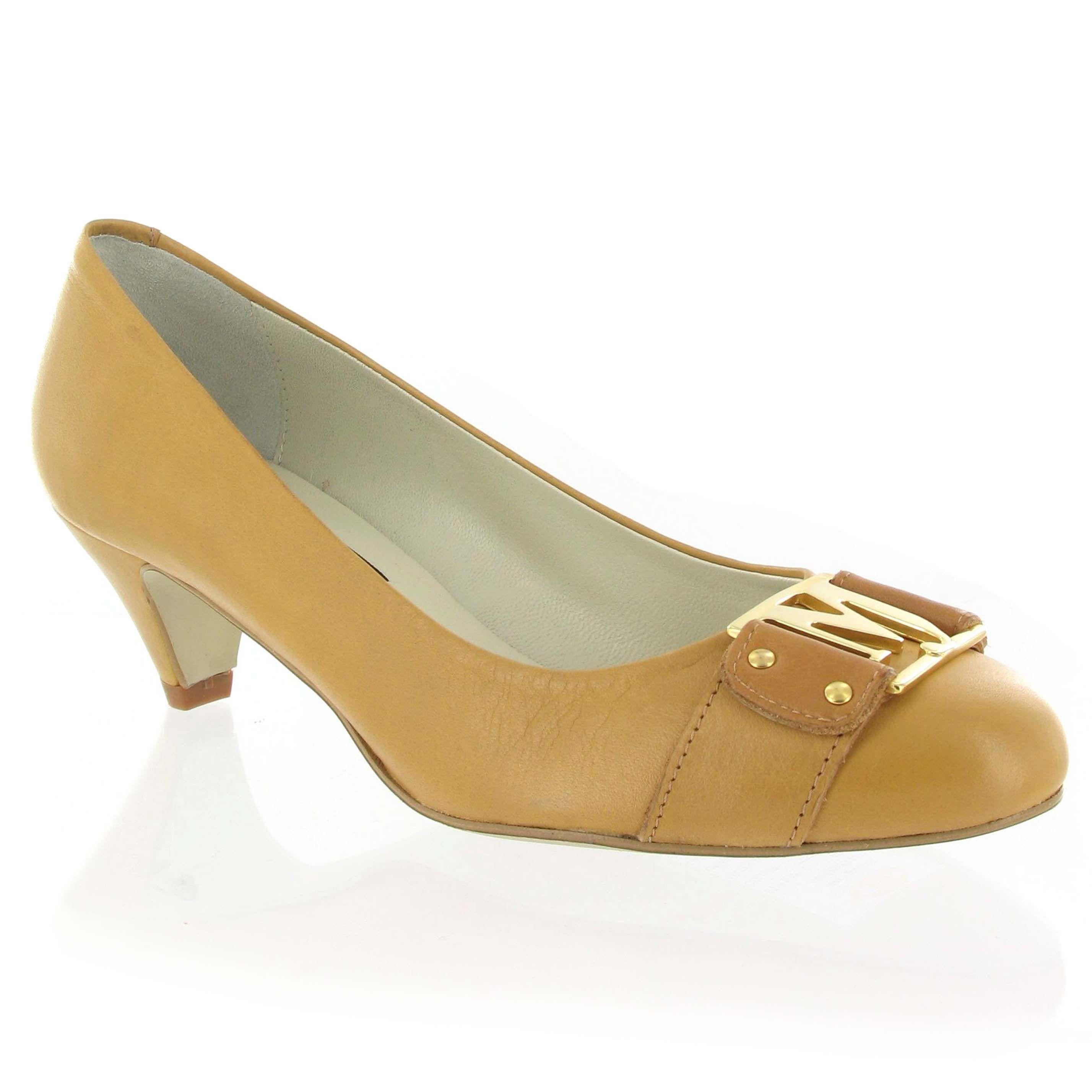 marta jonsson leather mid heel court shoe in lyst