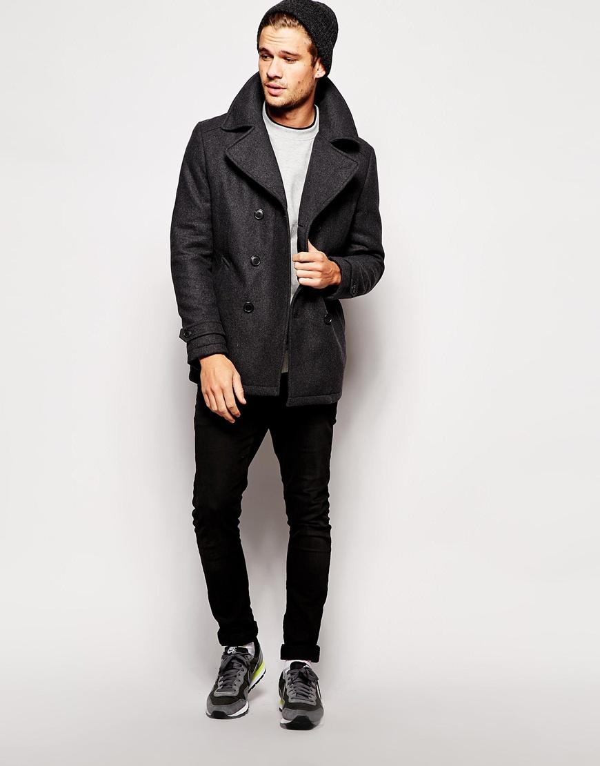 Selected Selected Wool Pea Coat in Gray for Men   Lyst