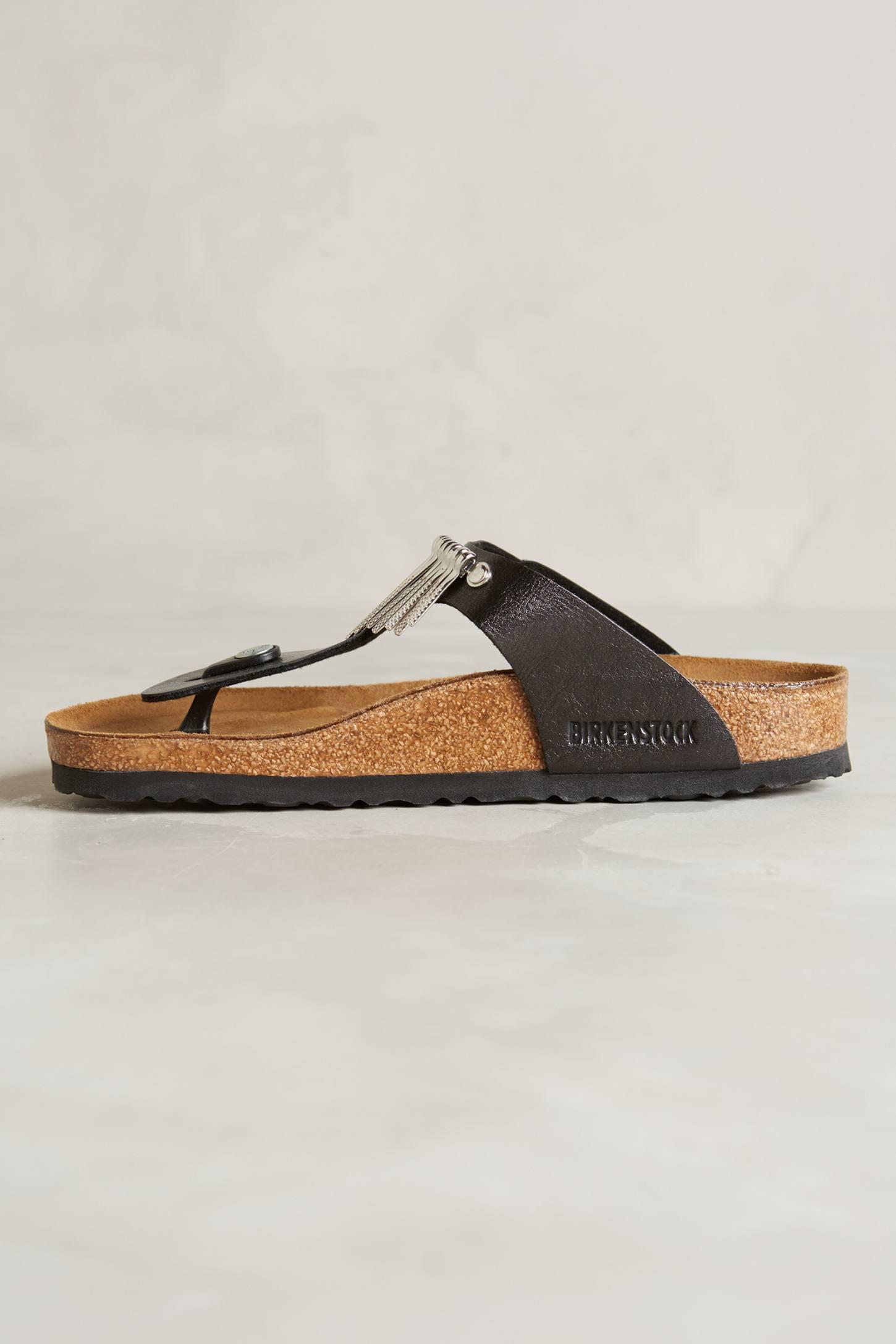 birkenstock gizeh fringe sandals in black lyst. Black Bedroom Furniture Sets. Home Design Ideas
