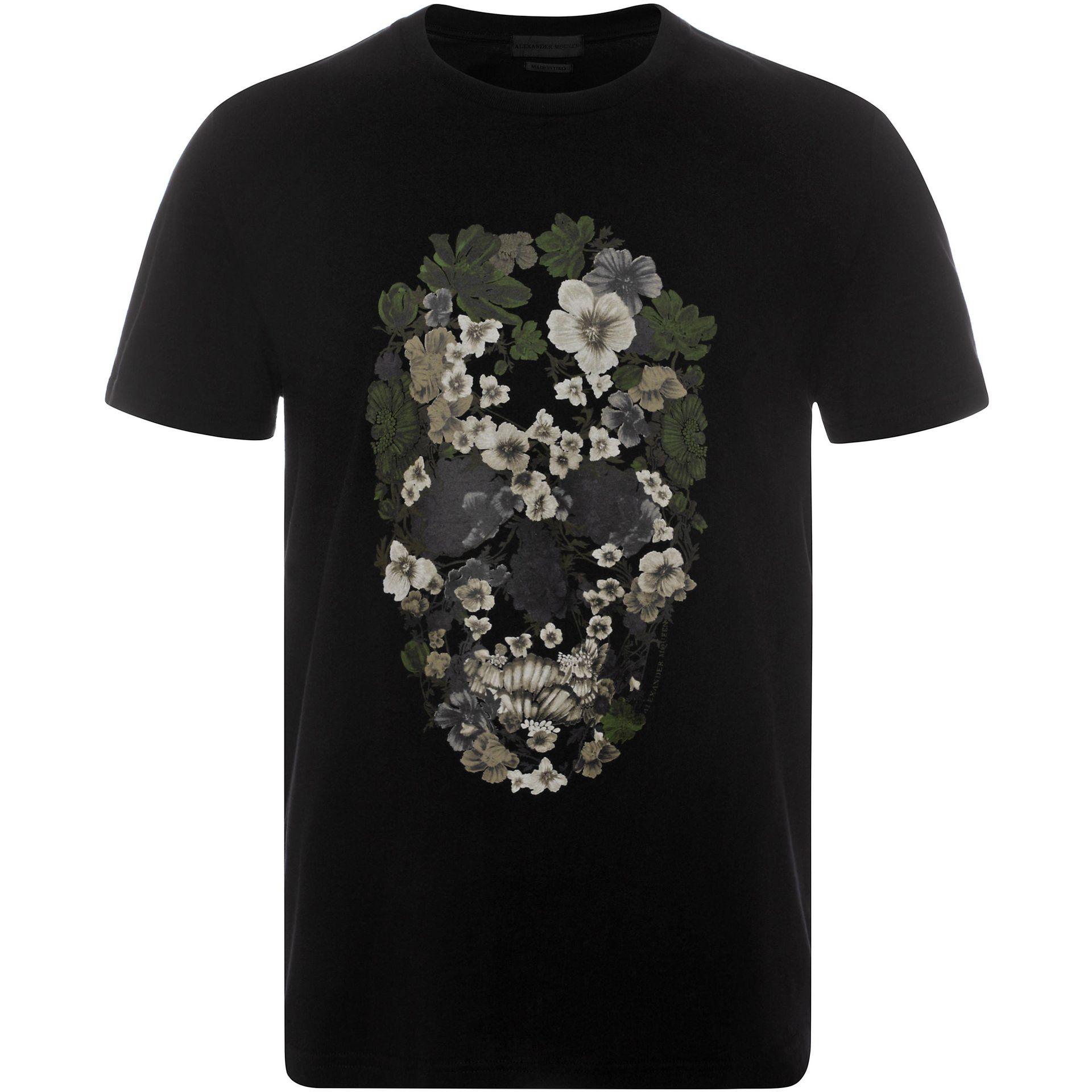 Alexander mcqueen floral skull t shirt in black for men lyst for Alexander mcqueen shirt men