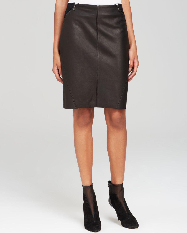 Elie tahari Daniella Leather Mini Skirt