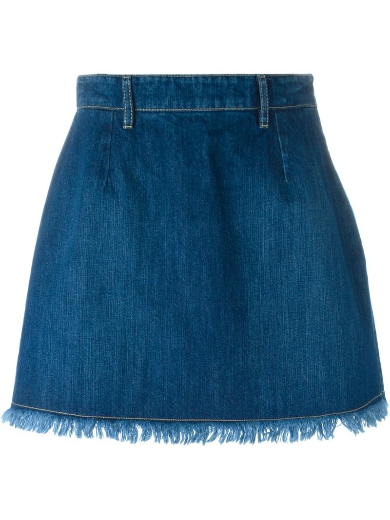 Each x other Frayed Edge Denim Skirt in Blue | Lyst