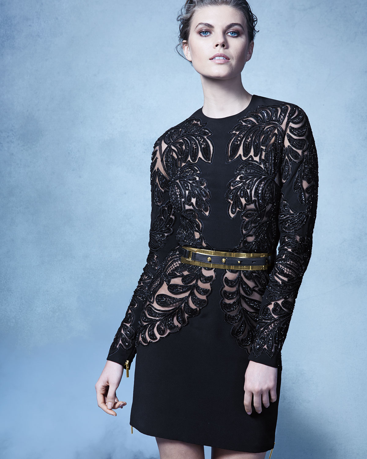 Lyst - Elie Saab Long-sleeve Lace Cutout Cocktail Dress in Black
