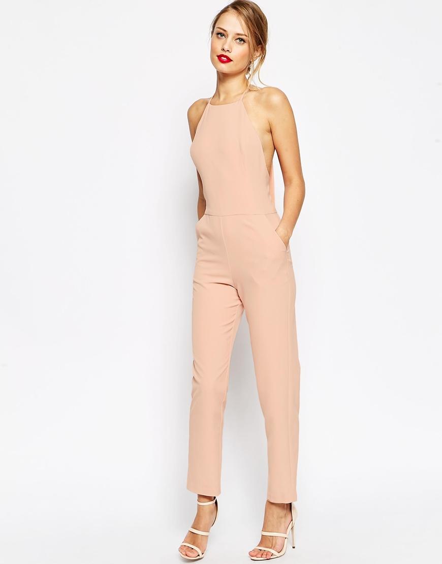Asos Premium Halter Neck Jumpsuit in Pink | Lyst