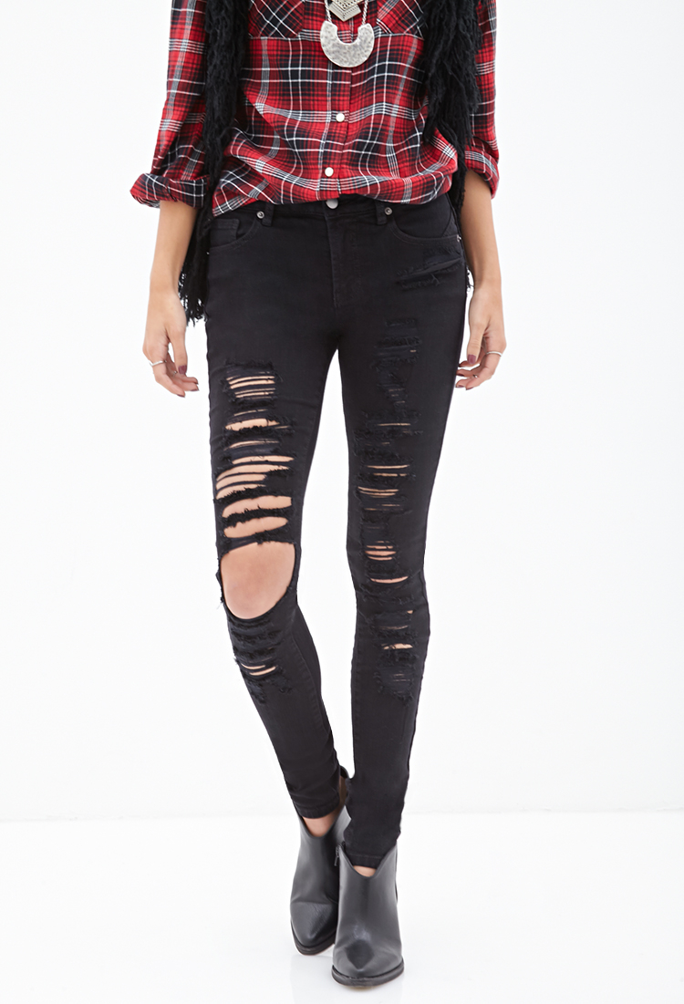 White ripped skinny jeans forever 21