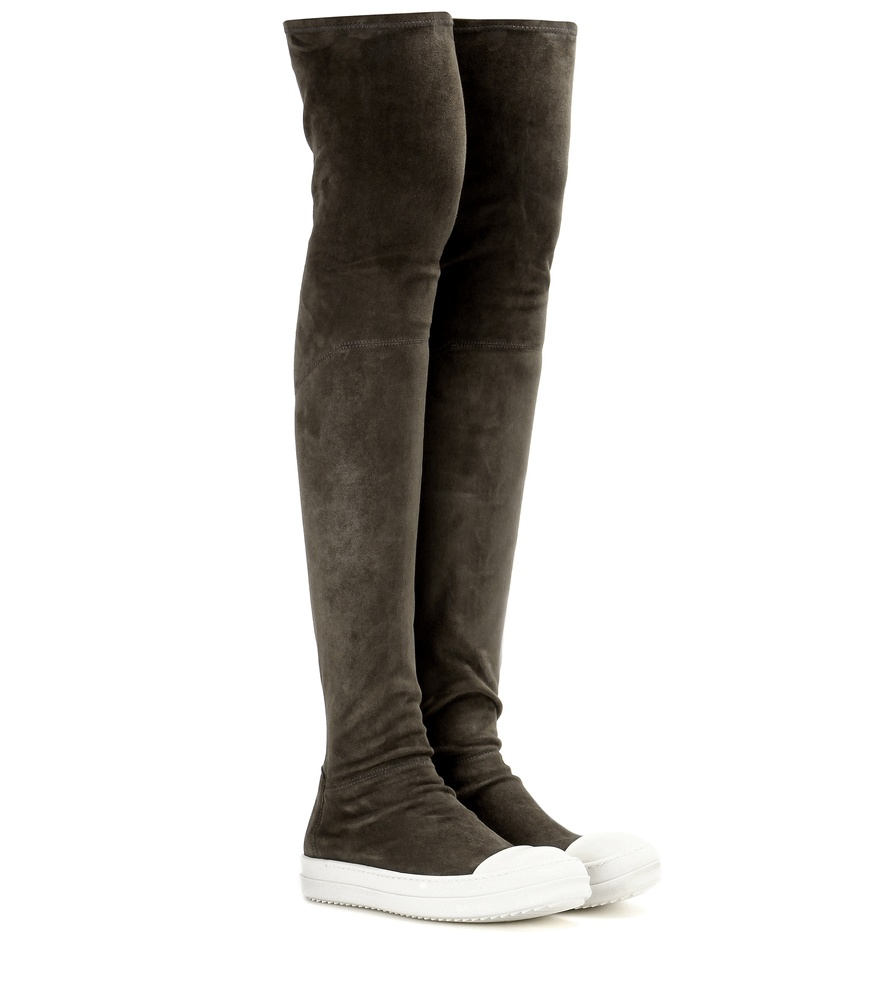 rick owens high sock suede the knee boots in gray lyst