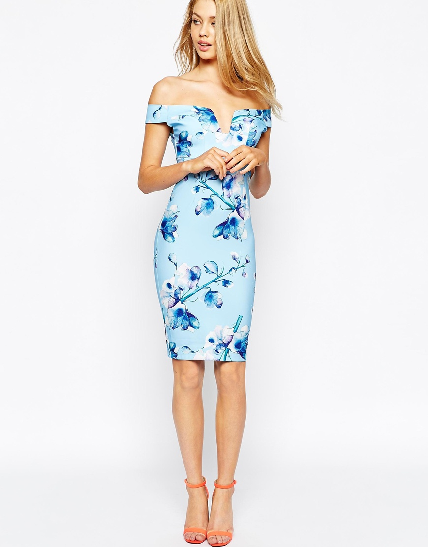 7fabefefca2e7 ... blue reverse shantung off the shoulder floral flare dress  gallery ...