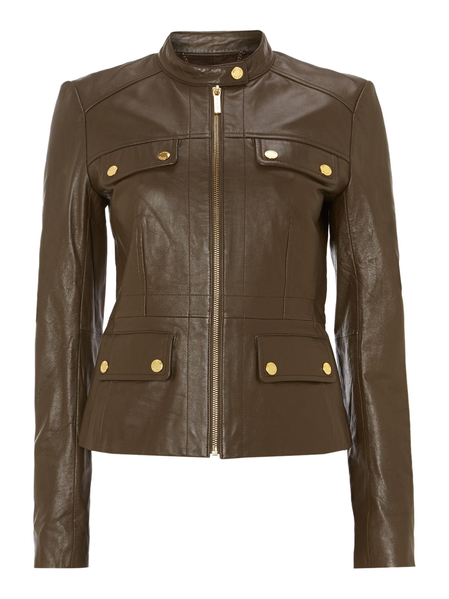 michael kors long sleeved waisted leather jacket in natural lyst. Black Bedroom Furniture Sets. Home Design Ideas