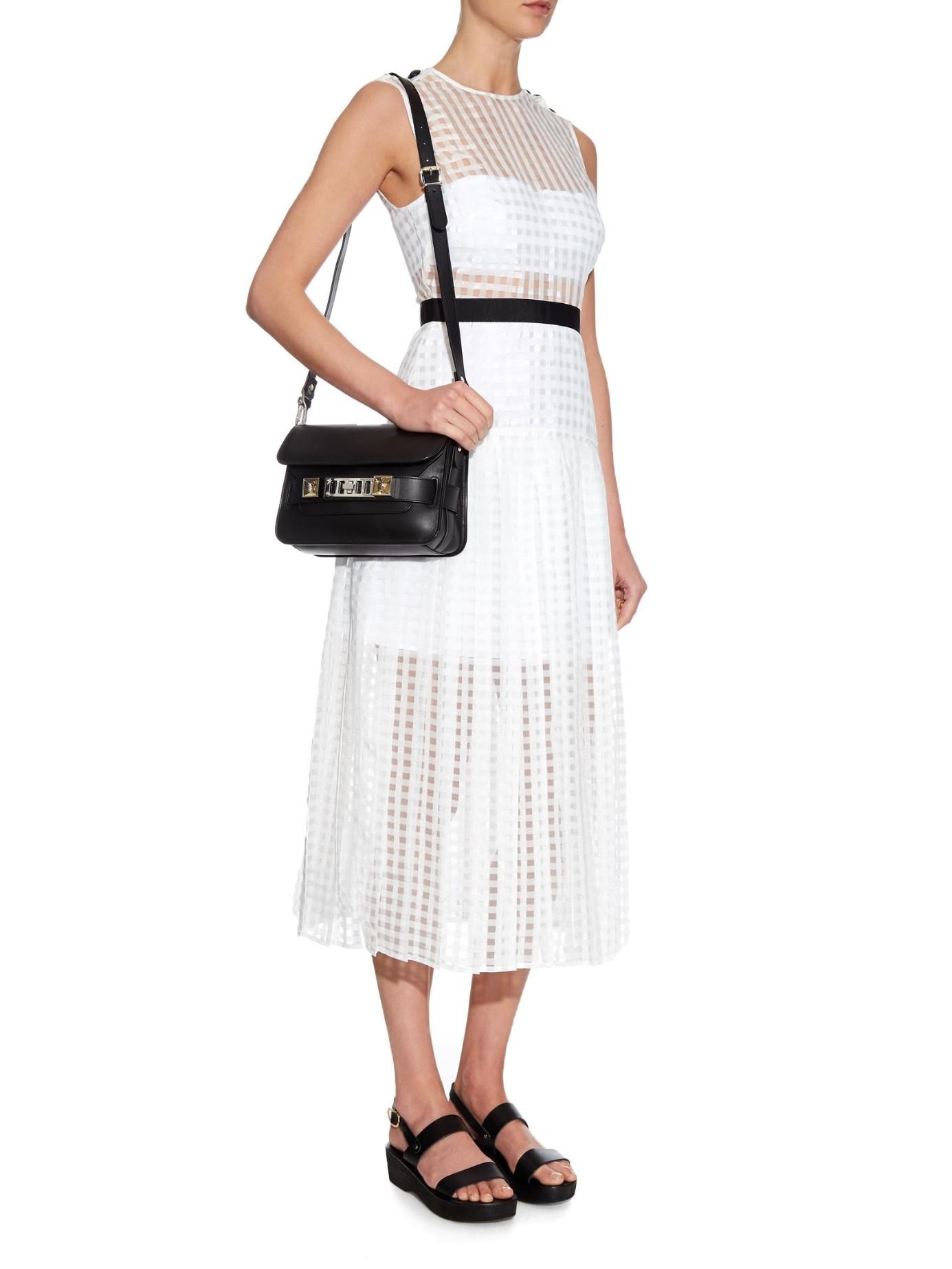 8e484b59cd8c Self-Portrait Monochrome Pleated Mini Dress in White - Lyst