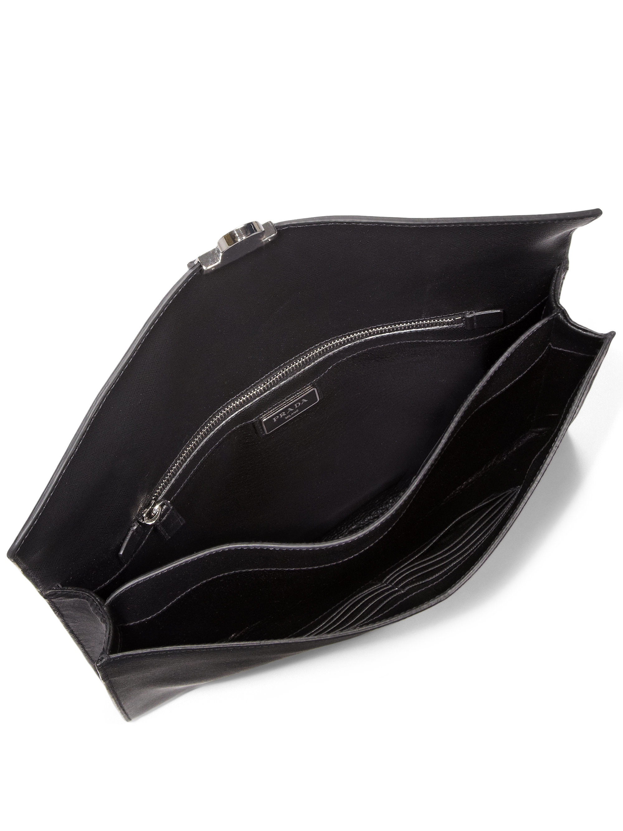 713c5f606661 ... sale lyst prada saffiano travel document holder in black for men 073ec  c70cd