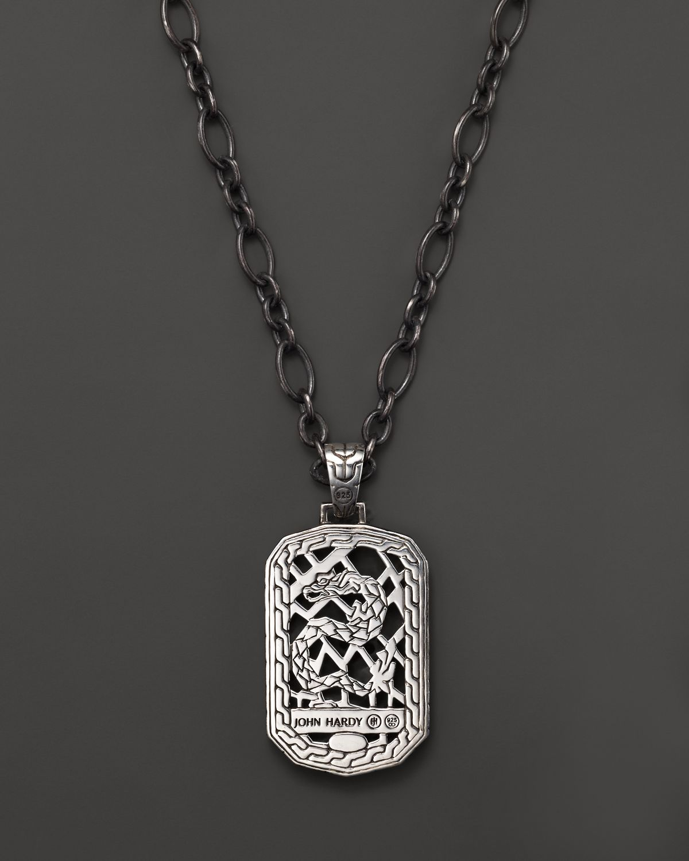 John Hardy Men S Classic Chain Silver Lava Dog Tag Pendant Chain Neckl