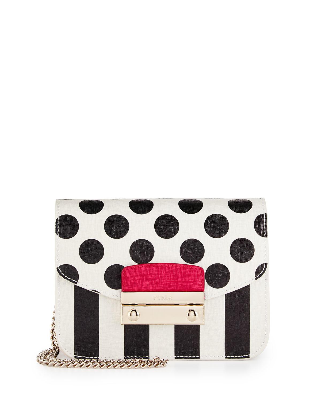5fc4aedbdef Lyst - Furla Julia Mini Striped   Polka Dot Leather Crossbody Bag in ...