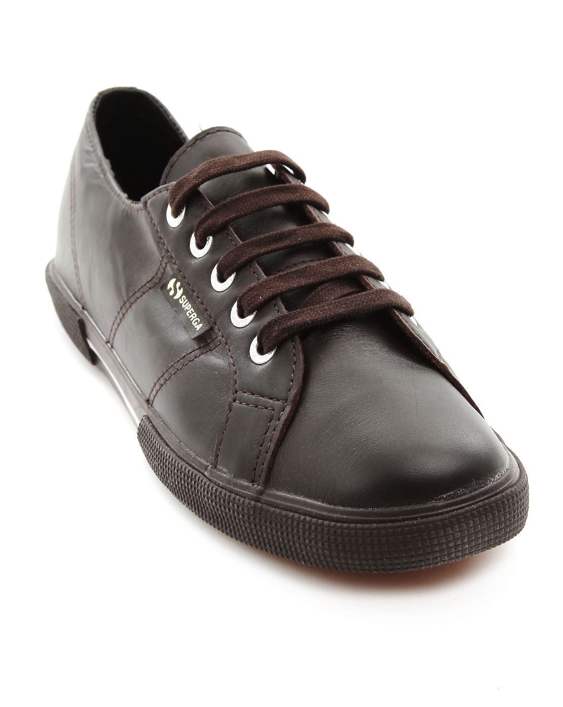 superga brown leather sneakers in brown for lyst
