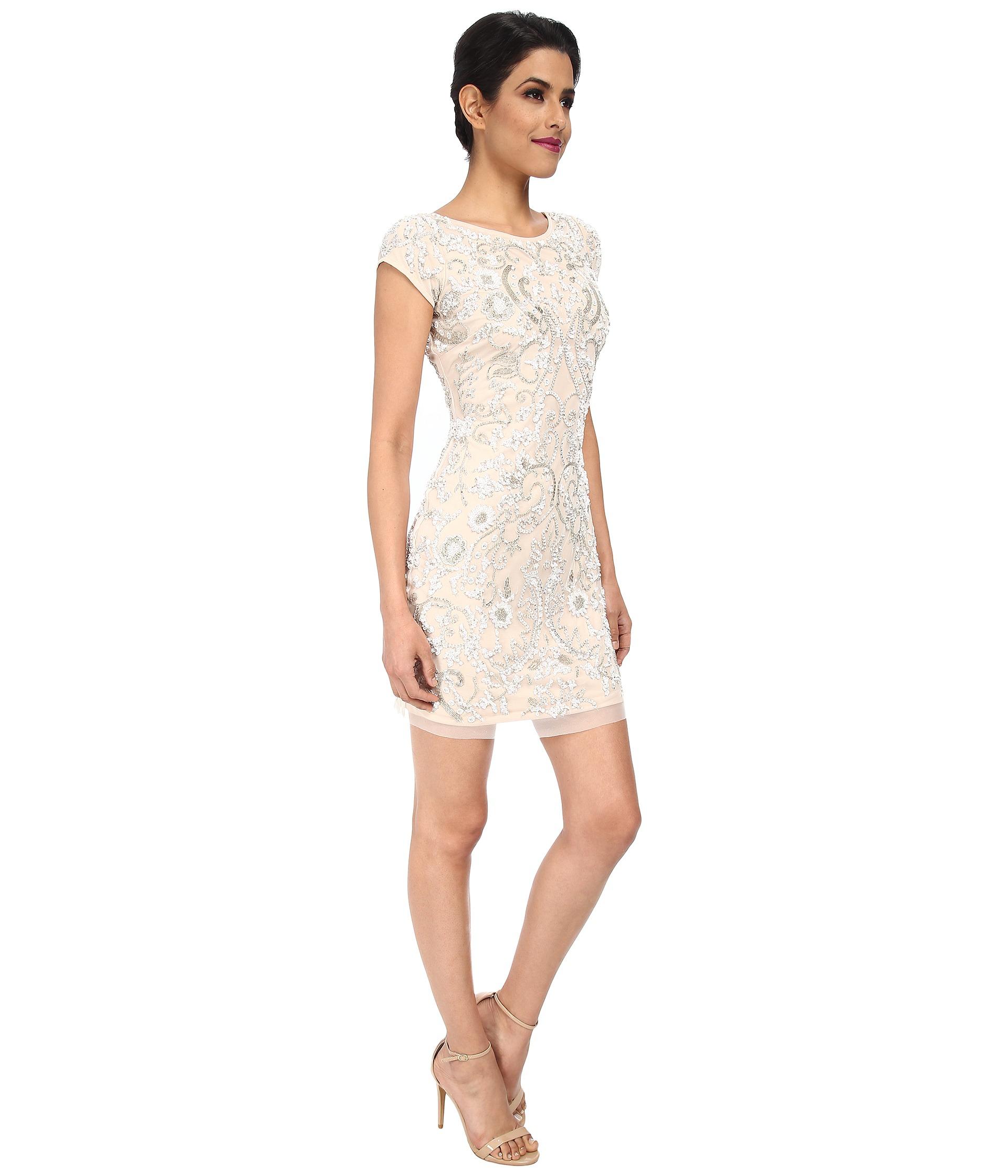 Lyst - Aidan Mattox Cap Sleeve Beaded Cocktail Dress in White