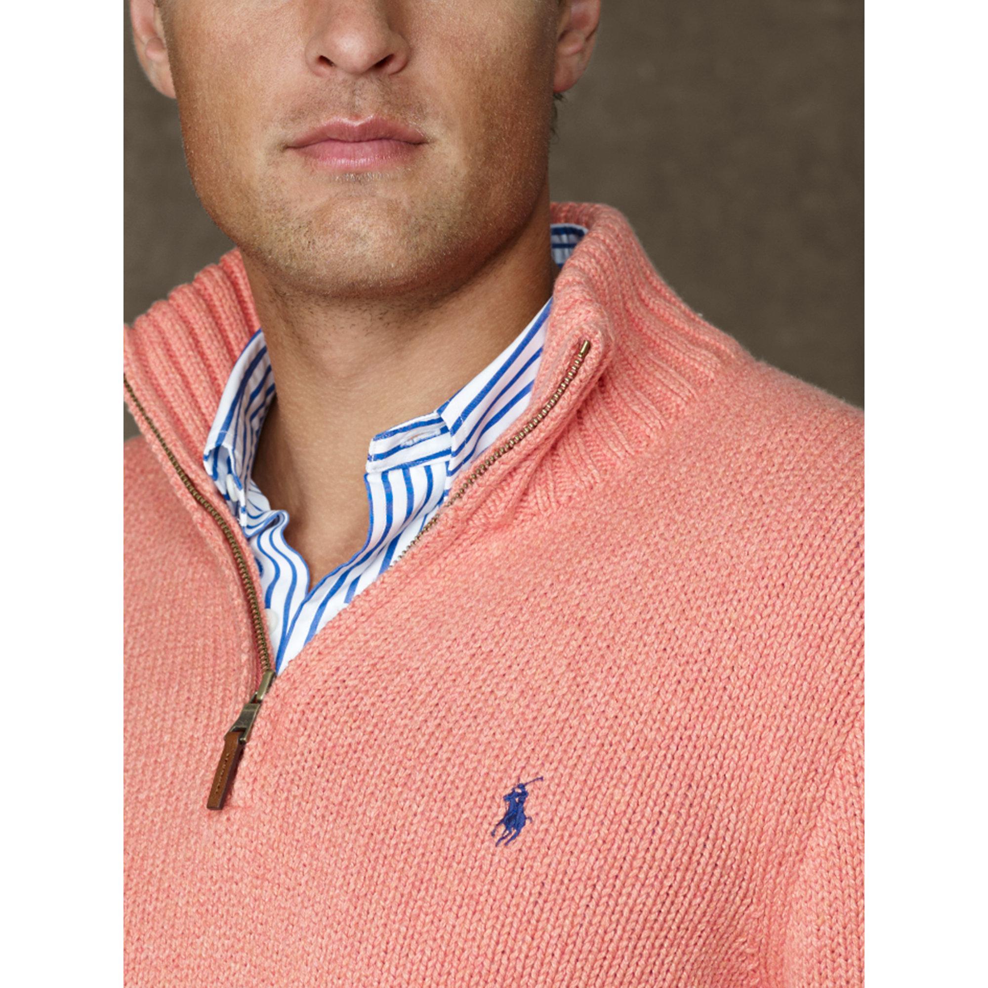 Polo ralph lauren Cotton Half-zip Sweater in Pink for Men | Lyst